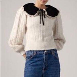 NWT Zara KPYTOMOA Sweater with Velvet Collar